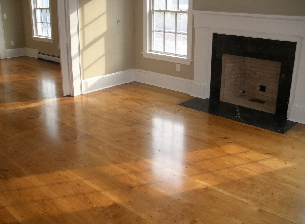 Living Room In Jamestown RI Finished With Tamworth Lumber Wide Pine Flooring